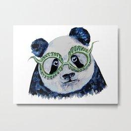 Green Panda Metal Print
