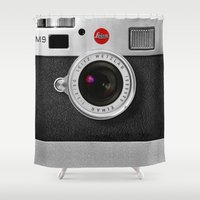 iphone 5 case Shower Curtains featuring classic retro Black silver Leather vintage camera iPhone 4 4s 5 5c, ipod, ipad case by Three Second
