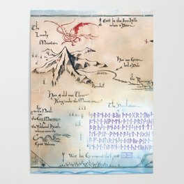 Map of the LonelyMountain with MoonRunes Poster