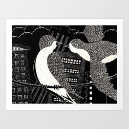 Swallows in City Art Print
