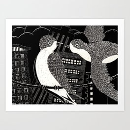 Swallows in City Art Print