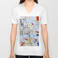 stockholm V-neck T-shirts featuring Stockholm by Mondrian Maps