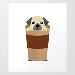 Cute Dog Coffee Art Print