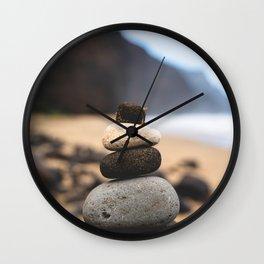 Stones On Beach Wall Clock