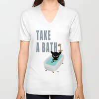 bath V-neck T-shirts featuring Bath Time by BATKEI
