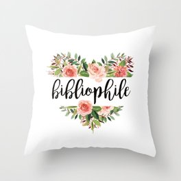 Heartshaped Bibliophile - White Throw Pillow