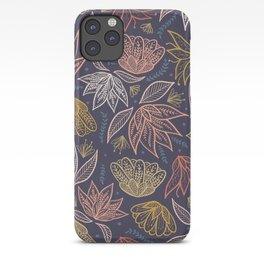 Bohemian Florals in Blue + Coral iPhone Case