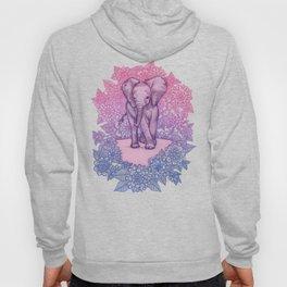 Cute Baby Elephant in pink, purple & blue Hoody