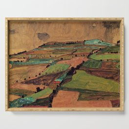 Rolling Plains at Harvest on the tartan hillsides landscape painting by Egon Schiele Serving Tray