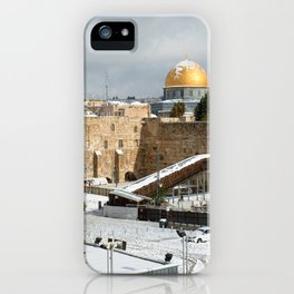 Old City Jerusalem covered in snow iPhone Case