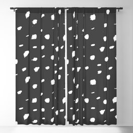 Seeing Spots // White ink on Dark Gray / Almost Black Blackout Curtain