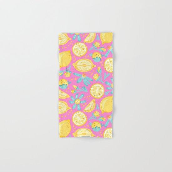 Lemon Pattern Pink Hand & Bath Towel