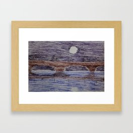 Bridge at night Framed Art Print
