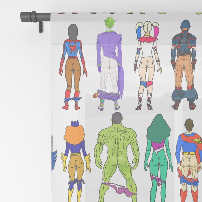 Superhero Butts - Power Couple on Violet Sheer Curtain