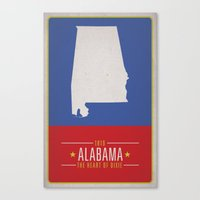 alabama Canvas Prints featuring ALABAMA by Matthew Justin Rupp