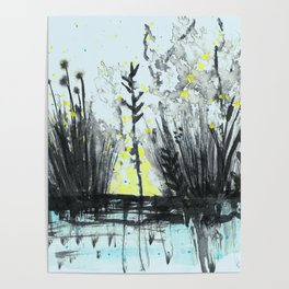 Cattails in the grass Poster