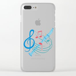 Flute Player Notes Awesome Musician Wind Instrument Clear iPhone Case