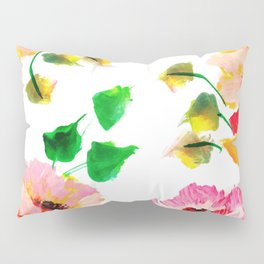 Pink and Orange Floral Print Poppies Pillow Sham