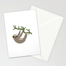 cute Three-toed sloth on green branch Stationery Cards