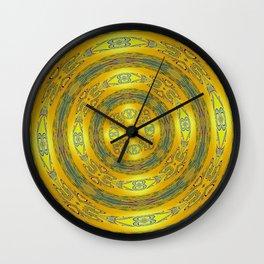 Yellow/Blue Manadala Wall Clock