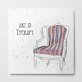 Art is therapy // Vivid watercolor // Empty chair // watercolor art Metal Print