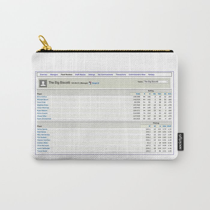 The Big Biscotti - 2010 Winning Fantasy Baseball Roster Carry-All Pouch