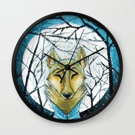 Lobo de Luna Wall Clock