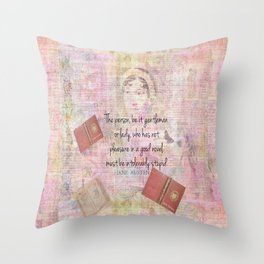 Jane Austen funny Intolerably Stupid quote humor  Throw Pillow