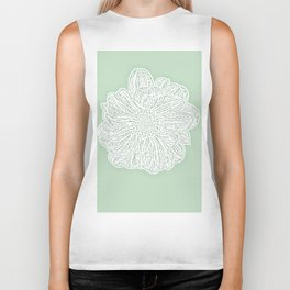 Single White Dahlia Lino Cut, Soft Sage Green Biker Tank