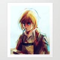 mikasa Art Prints featuring Armin Arlert by viria