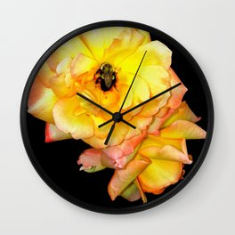 Bee on Yellow Roses Wall Clock