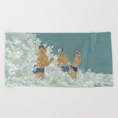 Three Ama Enveloped In A Crashing Wave Beach Towel
