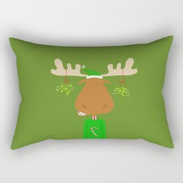 Merry Christmoose - Christmas Mistletoe Moose Rectangular Pillow