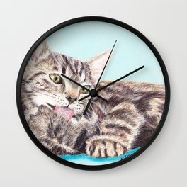 Original Pet Animals Artwork (non-profit) - Tabby Kitten Cat Pastel Wall Clock