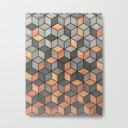 Concrete and Copper Cubes Metal Print