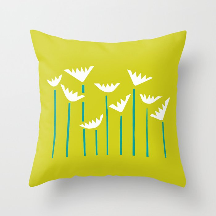 Chartreuse, Teal and White Tropical Plants Throw Pillow