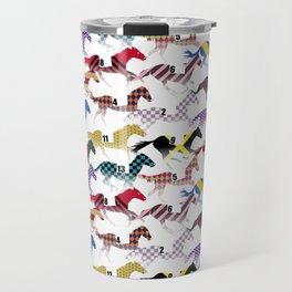 Off to the Horse Races Jockey Silk Pattern Travel Mug
