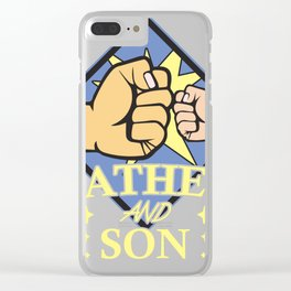 Father Son Gift Papa Family Boy Daddy Clear iPhone Case