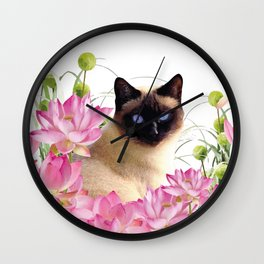 Siam Cat with pink Lotus Flower Blossoms Wall Clock