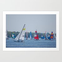 racing Art Prints featuring Racing by Nonna Originals