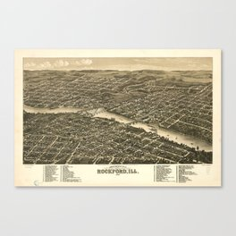 Bird's eye view of the city of Rockford, Illinois (1880) Canvas Print