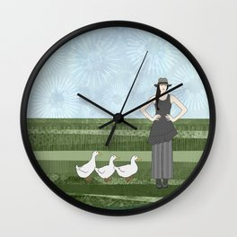 Pekin duck lady Wall Clock