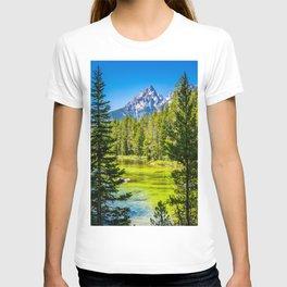 Alpine Lake Framed Grand Teton National Park Print T-shirt