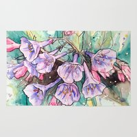 virginia Area & Throw Rugs featuring virginia bluebells by Beth Jorgensen