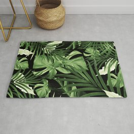 Tropical Jungle Night Leaves Pattern #5 #tropical #decor #art #society6 Rug