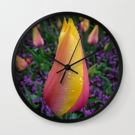 Trippy Tulips Wall Clock