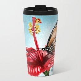 Butterfly on flower 2 Metal Travel Mug