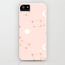 cute lovely pink, white and gold pattern background with constellation, stars, moon and planets iPhone Case
