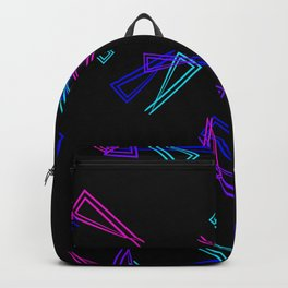 Patterns from flowing lines and triangles in blue tones for fabric or decorations. Backpack