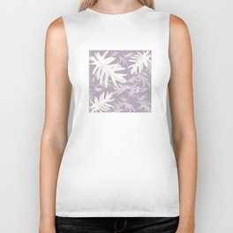 Trio palm leaves White purple autumn fall tropical pattern society6 Biker Tank